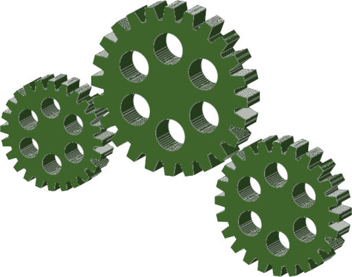 gear train with three gears as an example of mechanical energy