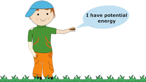 potential energy example in which a boy is holding a stone in his hand
