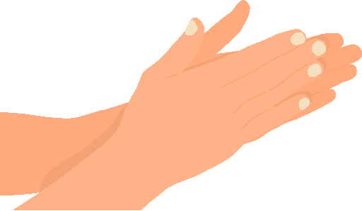 rubbing hands which produces heat