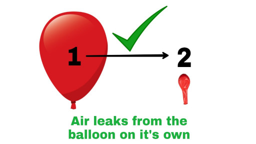 Examples of spontaneous process in Second Law of Thermodynamics which indicates the air leaks from the red air balloon