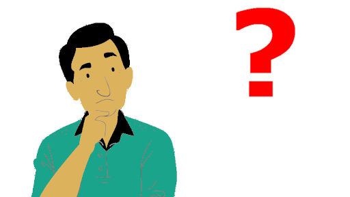 thinking old man in green t-shirt with a red question mark and hand on his chin
