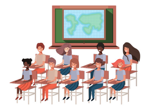 students sitting in class room animated