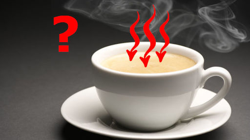 non spontaneous process in which hot white cup of coffee is absorbing heat as an example of second law of thermodynamics