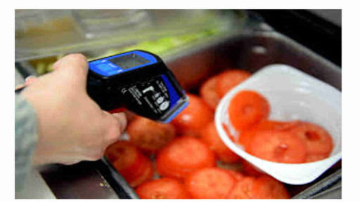 pyrometer or infrared thermometer which measures the temperature of the food in food processing industries as an example of 0th law of thermodynamics