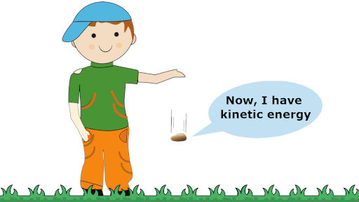 law of conservation of energy examples in which a boy is releases a stone indicates the kinetic energy
