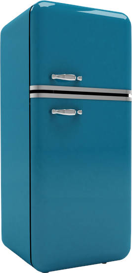 blue colored refrigerator with white background