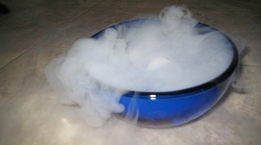 sublimation of dry ice in which solid carbon dioxide is converted directly into gas
