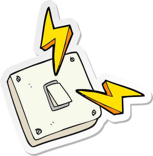 white animated switch board as an example of electrical energy