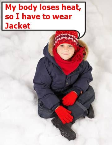 boy with black jacket and red glows and sitting on a snow feels cold in snow